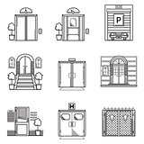 Black contour vector icons for door