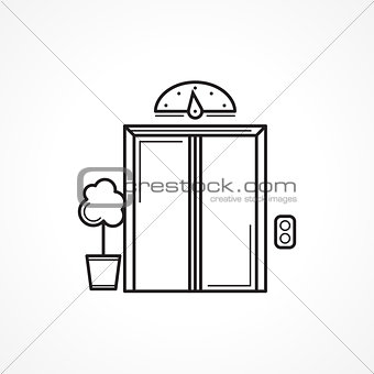Closed elevator door black line vector icon