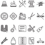 Black line icons vector collection for sewing or handmade