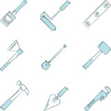 Blue vector icons for woodwork hand tools