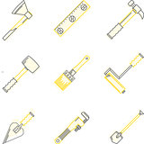 Flat line vector icons for woodwork tools