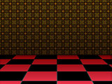 Retro room with checkered floor