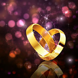 Romantic background with wedding rings