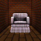 Room with brick wall and armchair