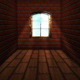 Room with brick wall with window
