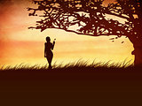 Silhouette of a girl with a butterfly and tree