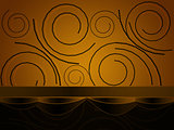 Swirls from circles on yellow background