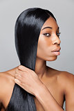 Black beauty with long straight hair
