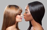 Black and Caucasian beauties with straight hair