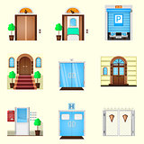 Stylized colorful vector icons for door