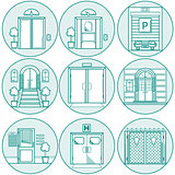Flat line vector  icons for door
