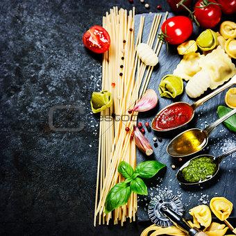 Tomato sauce, olive oil, pesto and pasta