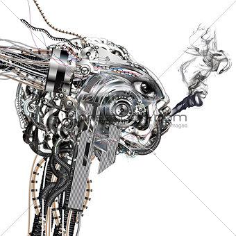 A cyborg smokes