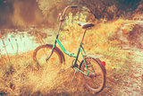 Little green bicycle standing on yellow autumn meadow