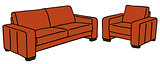 Red sofa and armchair