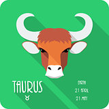 Zodiac sign Taurus icon flat design