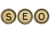 SEO acronym in typewriter keys