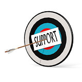 Arrow, support and board