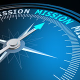 Mission word on compass