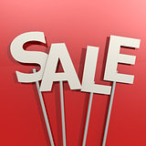 Sale word on red background