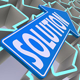 Solution blue arrow