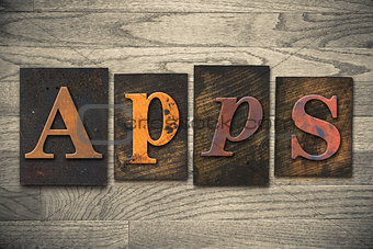 Apps Concept Wooden Letterpress Type