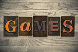 Games Concept Wooden Letterpress Type
