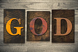 God Concept Wooden Letterpress Type