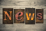 News Concept Wooden Letterpress Type