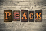 Peace Concept Wooden Letterpress Type