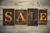 Sale Concept Wooden Letterpress Type