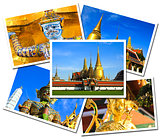 Collage of Wat Phra Kaew Grand Palace, Bangkok , Thailand postca