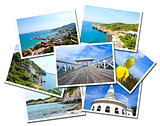 Collage of Sichang Islands ,Chonburi, Thailand postcards isolate