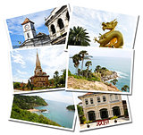 Collage of Phuket, Thailand postcards isolated on white backgrou