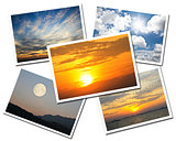 Collage of Sky postcards isolated on white background
