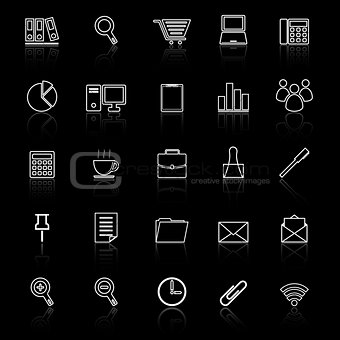 Office line icon reflect on black background