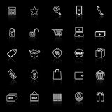Shopping line icons with reflect on black background