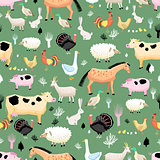 bright pattern of farm animals