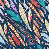 leaves and feathers pattern