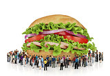 A lot of people are looking at a huge burger. Many people Concep