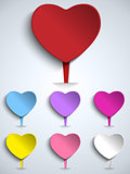 Set of Valentine Day Colorful Heart Button
