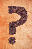 Question Mark made of Coffee Beans