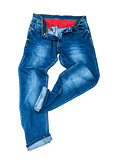 men's blue jeans dancing on a white background