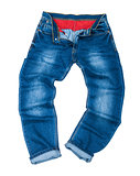 men's fashion blue jeans on a white background