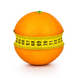 orange tightened measuring tape on a white background. Concept s