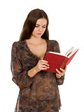Attractive young student woman with book gesturing, isolated on