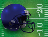 American Football Helmet on Field Illustration