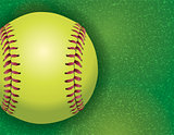 Softball on a Textured Grass Field Illustration
