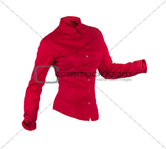 Blank red business shirt isolated on white background