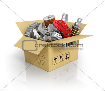 Auto parts in the cardbox. Automotive basket shop. Auto parts st
